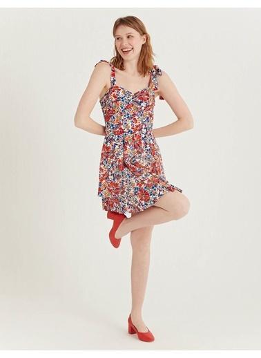 BGN Multirenk - Çiçek Desenli Volanlı Elbise  Renkli